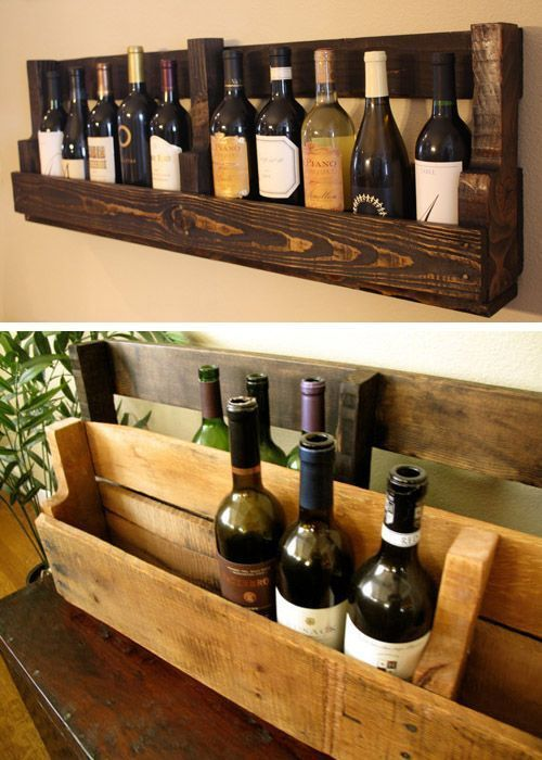 Botellero lineal hecho con pallets