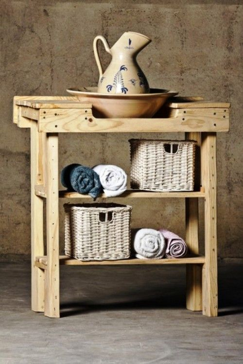 Mueble-lavabo hecho con pallets